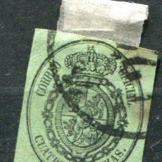 Sellos: EDIFIL 37. CUATRO ONZAS. AÑO 1855. SERVICIO OFICIAL. USADO.. Lote 33387759