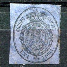 Selos: EDIFIL 38. UNA LIBRA. AÑO 1855. SERVICIO OFICIAL. NUEVO CON GRUES FIJASELLO Y LIGERO ÓXIDO.. Lote 30254232