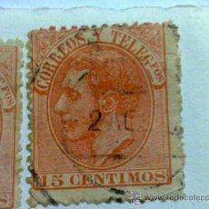 Sellos: ALFONSO XII 1882. 15 CTS. ROJO-NARARANJA (210A CATALOGO). Lote 31899362