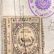Sellos: 1895. SELLO COLEGIO NOTARIAL. VALLADOLID. TRES PESETAS. NOTARIA DEL CLIDO FRANCIA HERNANDEZ. . Lote 32998778