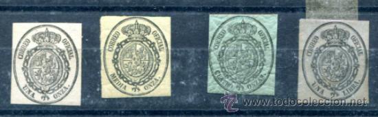 EDIFIL 35/38. NUEVOS SIN GOMA. 4 ONZAS CON GOMA ESTRIADA. 1 LIBRA ADELGAZADO (Sellos - España - Otros Clásicos de 1.850 a 1.885 - Nuevos)