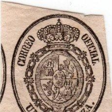 Sellos: TIRA CON CUATRO SELLOS PARA SERVICIO OFICIAL DE UNA ONZA AÑO 1855, Nº 36 CAT. EDIFIL. Lote 33978064