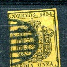 Sellos: EDIFIL 28. MEDIA ONZA AÑO 1854. Lote 34602984
