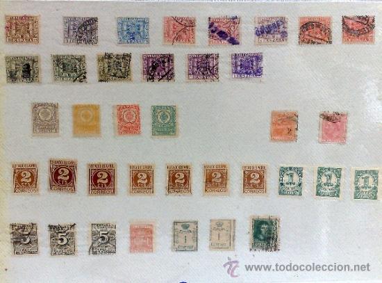 Sellos: CIRCA 1878-1940.- HOJA CON COLECCIÓN DE 37 SELLOS DE LA ÉPOCA. - Foto 2 - 36003019