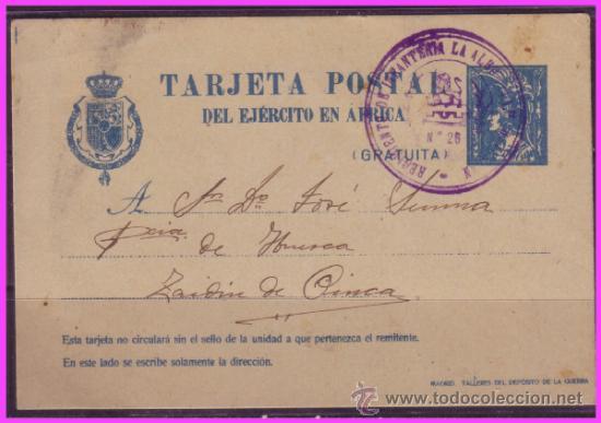 1921 TARJETA POSTAL EJÉRCITO DE ÁFRICA, EDIFIL Nº 2A (O), TAFENIT A ZAIDÍN (HUESCA) (Sellos - España - Otros Clásicos de 1.850 a 1.885 - Cartas)