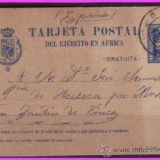 Sellos: 1921 TARJETA POSTAL EJÉRCITO DE ÁFRICA, EDIFIL Nº 2B (O), MELILLA A ZAIDÍN (HUESCA). Lote 36937577