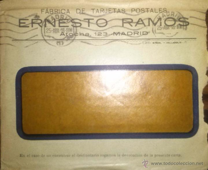 SOBRE DE LA FABRICA DE TARJETAS POSTALES ERNESTO RAMOS FRANQUEO MADRID ALMANSA 1918 (Sellos - España - Otros Clásicos de 1.850 a 1.885 - Cartas)