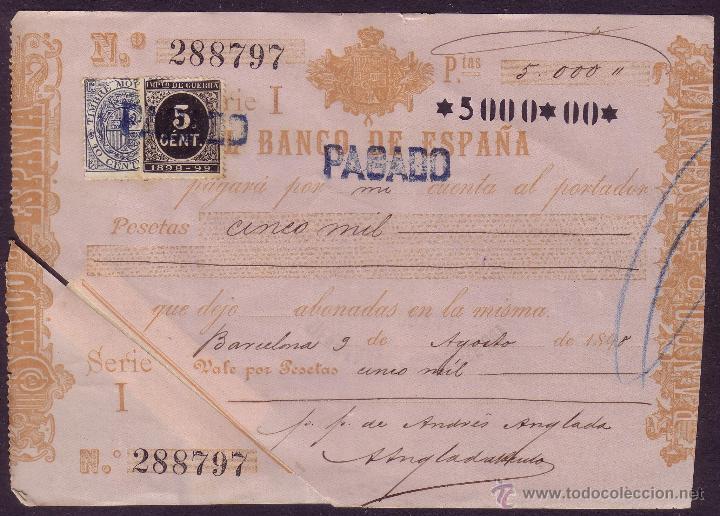 ESPAÑA. (CAT.236, FISCAL 18). 1898. BARCELONA. PAGARÉ. REINTEGRADO CON FISCAL Y SELLO. RR. (Sellos - España - Otros Clásicos de 1.850 a 1.885 - Cartas)