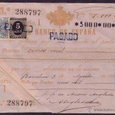 Sellos: ESPAÑA. (CAT.236, FISCAL 18). 1898. BARCELONA. PAGARÉ. REINTEGRADO CON FISCAL Y SELLO. RR.. Lote 24609131