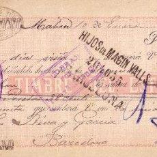 Sellos: ESPAÑA. FISCAL. (CAT. 237).1899.LETRA DE CAMBIO DE MAHÓN (BALEARES).REINTEGRADA CON IMPTO. GUERRA.. Lote 24042612