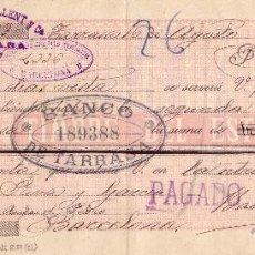 Sellos: ESPAÑA. FISCAL.(CAT.239).1898.LETRA DE CAMBIO DE TARRASA. REINTEGRADA CON TIRA DE TRES 20 CTS. RR.. Lote 24540353
