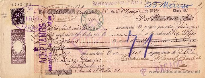 ESPAÑA.FISCAL. (CAT.GÁLVEZ 50).1899. LETRA DE CAMBIO DE TARRASA (BARCELONA).REINTEGRADA 40 C.M. RARA (Sellos - España - Otros Clásicos de 1.850 a 1.885 - Cartas)