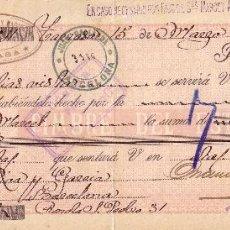 Sellos: ESPAÑA.FISCAL. (CAT.GÁLVEZ 50).1899. LETRA DE CAMBIO DE TARRASA (BARCELONA).REINTEGRADA 40 C.M. RARA. Lote 26813931