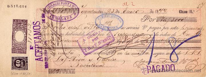 ESPAÑA. FISCAL. (CAT. GÁLVEZ 52).1899. LETRA DE CAMBIO DE IGUALADA (BARCELONA).REINTEGRADA 60 C.RARA (Sellos - España - Otros Clásicos de 1.850 a 1.885 - Cartas)