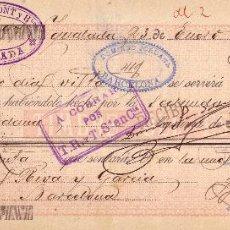 Sellos: ESPAÑA. FISCAL. (CAT. GÁLVEZ 52).1899. LETRA DE CAMBIO DE IGUALADA (BARCELONA).REINTEGRADA 60 C.RARA. Lote 27416624