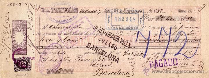 ESPAÑA. FISCAL. (CAT.GÁLVEZ 49).1898.LETRA DE CAMBIO DE VALLADOLID.REINTEGRADA 30C. IMPTO. GUERRA.RR (Sellos - España - Otros Clásicos de 1.850 a 1.885 - Cartas)