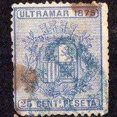 Sellos: ULTRAMAR ESPAÑOL : AÑO 1875 ( ESCUDO DE ESPAÑA ) 25 CÉNTIMOS USADO . Lote 46791345