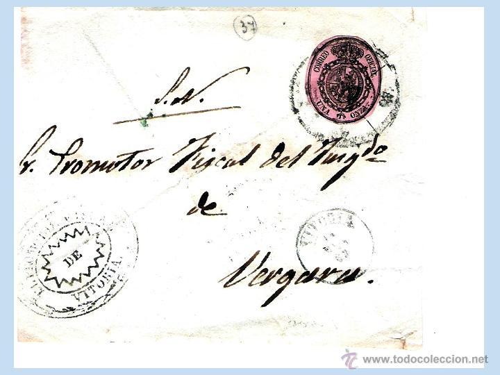 1863.-FRONTAL CON SELLO OFICIAL CATº Nº 36 CON RUEDA DE CARRETA Y FECHADOR DE VITORIA A VERGARA. (Sellos - España - Otros Clásicos de 1.850 a 1.885 - Cartas)