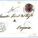 Sellos: 1863.-FRONTAL CON SELLO OFICIAL CATº Nº 36 CON RUEDA DE CARRETA Y FECHADOR DE VITORIA A VERGARA.. Lote 47091308