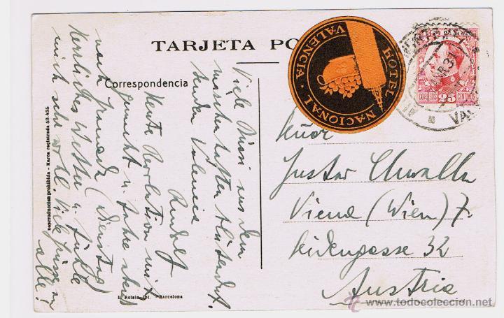 POSTAL DE VALENCIA, GRAN VÍA, CIRCULADA, AUSTRIA 1931 SELLO ALFONSO XIII, HOTEL NACIONAL VALENCIA (Sellos - España - Otros Clásicos de 1.850 a 1.885 - Cartas)