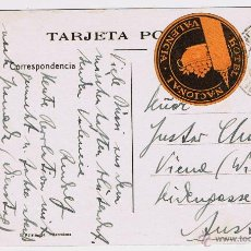 Sellos: POSTAL DE VALENCIA, GRAN VÍA, CIRCULADA, AUSTRIA 1931 SELLO ALFONSO XIII, HOTEL NACIONAL VALENCIA. Lote 47883309