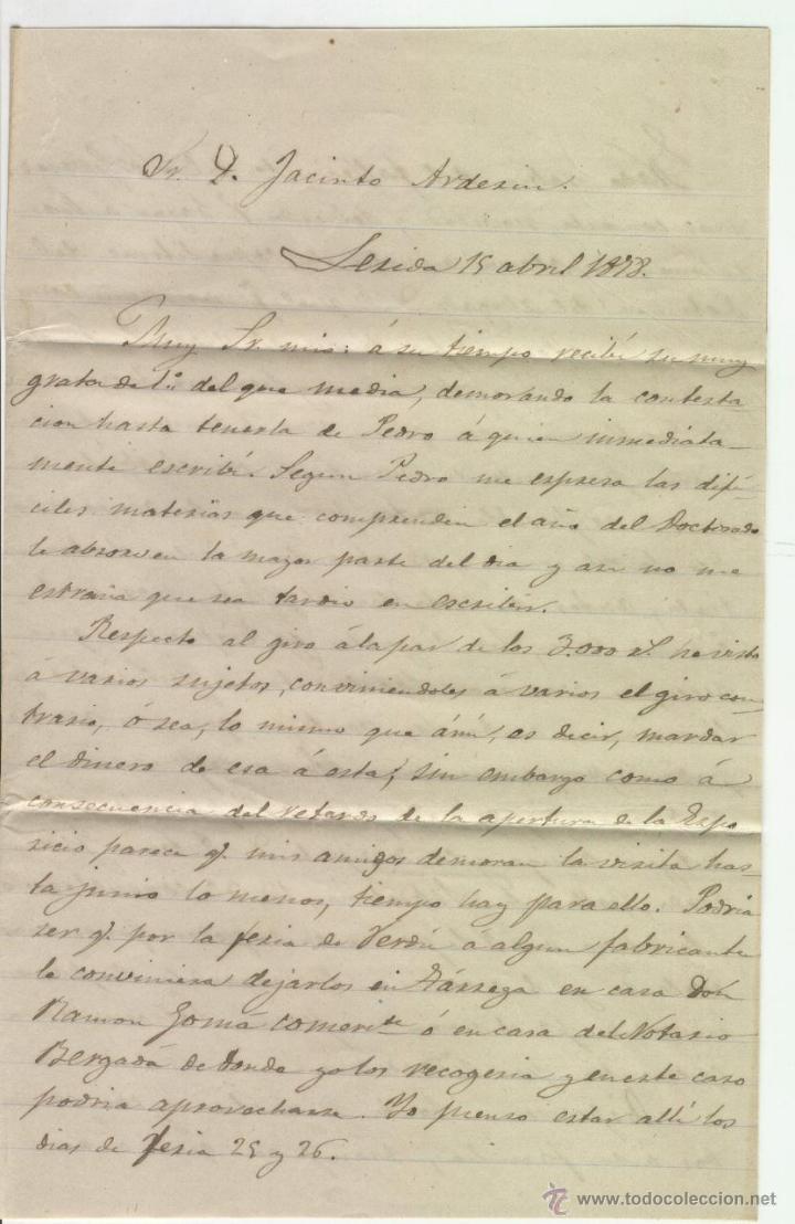 Sellos: CARTA MANUSCRITA MANUSCRITO EN LERIDA SOBRE SELLOS AÑO 1878 JACINTO ARDERIU MANRESA - Foto 2 - 48632032