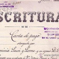 Sellos: CP-FISCALES PAPEL SELLADO 1888 -CLASE 8ª Y 11ª - ESCRITURA CARTA DE PAGO. BARCELONA. Lote 52270190