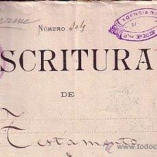 Sellos: CP-FISCALES PAPEL SELLADO 1895-CLASES 6ª Y 13ª - ESCRITURA TESTAMENTO. BARCELONA. Lote 52272755