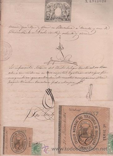 Sellos: CAR-MUS-6-6a- FISCAL Curioso documento de Certificado notarial DUPLICADO. VER DESCRIPCION - Foto 2 - 52958332