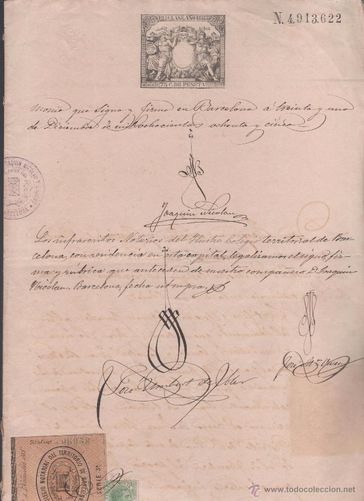 Sellos: CAR-MUS-6-6a- FISCAL Curioso documento de Certificado notarial DUPLICADO. VER DESCRIPCION - Foto 8 - 52958332