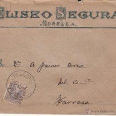 Sellos: SOBRE DE ELISEO SEGURA DE MORELLA- CASTELLÓN-. Lote 53326214
