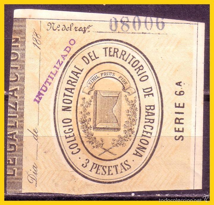 FISCALES COLEGIO NOTARIAL DE BARCELONA 1888 LEGALIZACIONES 3 PTAS. * * Nº 23 (Sellos - España - Otros Clásicos de 1.850 a 1.885 - Nuevos)