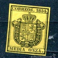 Sellos: EDIFIL 28. MEDIA ONZA, ESCUDO DE ESPAÑA. AÑO 1854. NUEVO SIN FIJASELLOS PERO GOMA CON ÓXIDO.. Lote 55785218