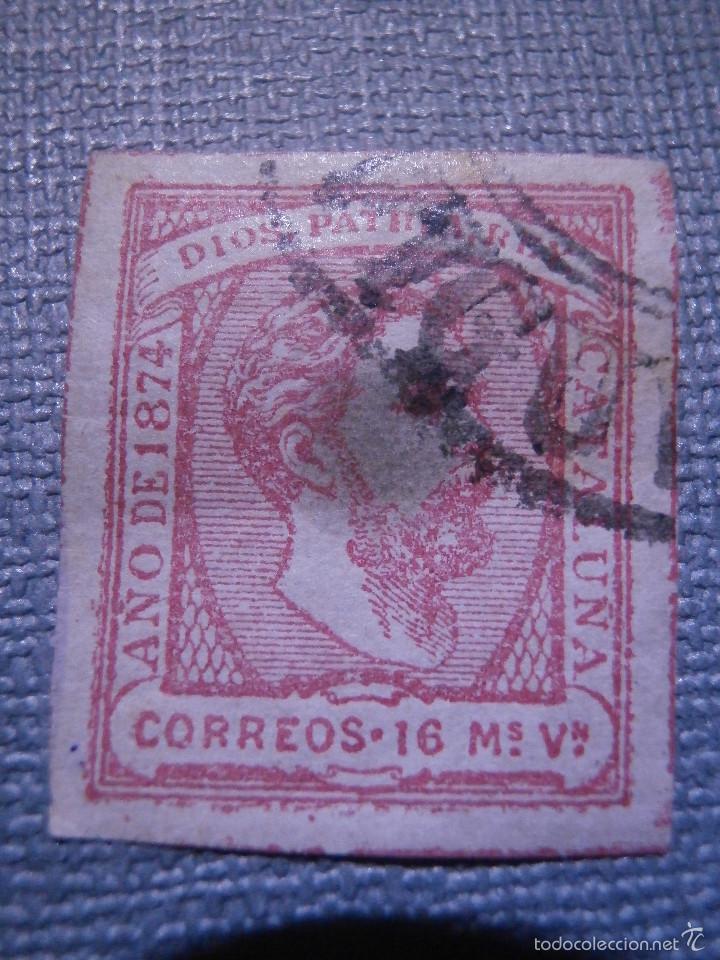 SELLO ESPAÑA - EDIFIL 157 - CARLISTA USADO - 1874 - 16 MARAVEDIES - ROSA - CARLOS VII - CATALUÑA - (Sellos - España - Otros Clásicos de 1.850 a 1.885 - Usados)