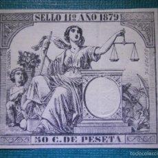 Sellos: FISCAL - POLIZA AÑO 1879 CLASE 11 ª - 50 CÉNTIMOS DE PESETA - BURDEOS - SIN DENTAR - SELLO - GALVEZ. Lote 57717123
