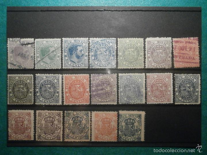 SELLO - TIMBRE MOVIL - 20 DIFERENTES + 3 ESPECIAL MOVIL - DE 1884 A 1903, 1916, USADOS Y NUEVOS LOTE (Sellos - España - Otros Clásicos de 1.850 a 1.885 - Usados)