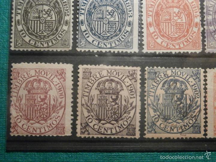 Sellos: Sello - Timbre Movil - 20 diferentes + 3 Especial Movil - De 1884 a 1903, 1916, Usados y Nuevos Lote - Foto 5 - 57739235