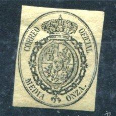 Sellos: EDIFIL 35. MEDIA ONZA, ESCUDO DE ESPAÑA. AÑO 1855. NUEVO CON FIAJSELLOS. Lote 57746708