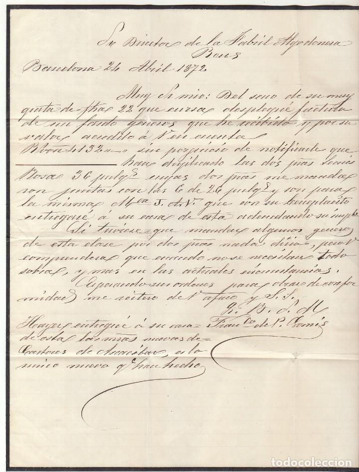 Sellos: G.P.: 107- BARCELONA a REUS. 1872. - Foto 4 - 75197599