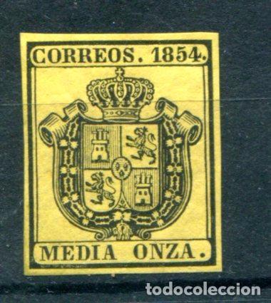 EDIFIL 28. MEDIA ONZA. ESCUDO DE ESPAÑA. SERVICIO OFICIAL, AÑO 1854. NUEVO SIN GOMA (Sellos - España - Otros Clásicos de 1.850 a 1.885 - Nuevos)
