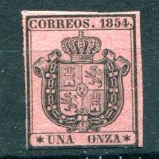 Timbres: EDIFIL 29. UNA ONZA. ESCUDO DE ESPAÑA. SERVICIO OFICIAL, AÑO 1854. NUEVO SIN FIJASELLOS. GOMA NORMAL. Lote 88173760