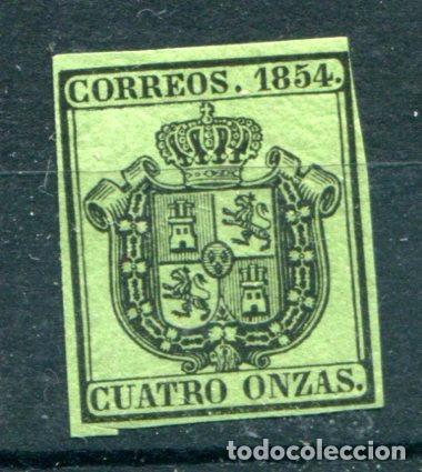 EDIFIL 30. CUATRO ONZAS. ESCUDO DE ESPAÑA. SERVICIO OFICIAL, AÑO 1854. NUEVO CON FIJASELLOS (Sellos - España - Otros Clásicos de 1.850 a 1.885 - Nuevos)
