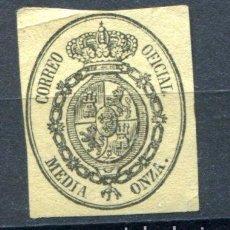 Sellos: EDIFIL 35. MEDIA ONZA. ESCUDO DE ESPAÑA. SERVICIO OFICIAL, AÑO 1855. NUEVO SIN GOMA.. Lote 88175116