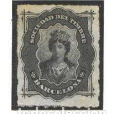 Sellos: ESPAÑA BARCELONA -1875-76 - FISCALES SOCIEDAD DEL TIMBRE - SIN GOMA. Lote 98412127