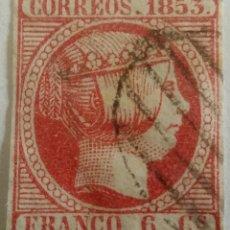 Sellos: SELLO 1853 ISABEL II FRANCO 6 CUARTOS. Lote 100047991