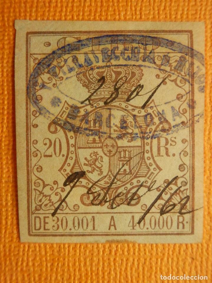 SELLO - ESPAÑA - FISCALES - FISCAL - GIRO O EFECTOS DEL COMERCIO - 20 RS - REALES - +/- AÑO 1861 (Sellos - España - Otros Clásicos de 1.850 a 1.885 - Usados)