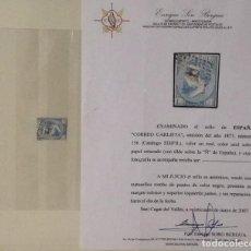 Sellos: EDIFIL 156 CORREO CARLISTA USADO AUTENTICO CON CERTIFICADO 599 € NEGOCIABLE. Lote 104800739