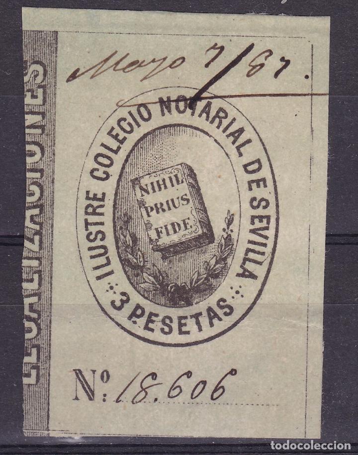 AA13-FISCALES COLEGIO NOTARIAL SEVILLA 3 PTAS (Sellos - España - Otros Clásicos de 1.850 a 1.885 - Nuevos)
