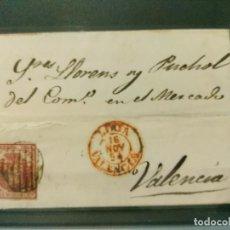 Sellos: CUBIERTA. EDIFIL 33 ESCUDO ESPAÑA. PARRILLA Y FECHADOR. DE LLIRIA A VALENCIA 16/11/1854. Lote 111080795