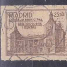 Sellos: CC15-FISCALES CONSEJO MUNICIPAL MADRID . ARBITRIO VENTAS 25 CTS PAPEL CREMA .DENTADO. Lote 116129367